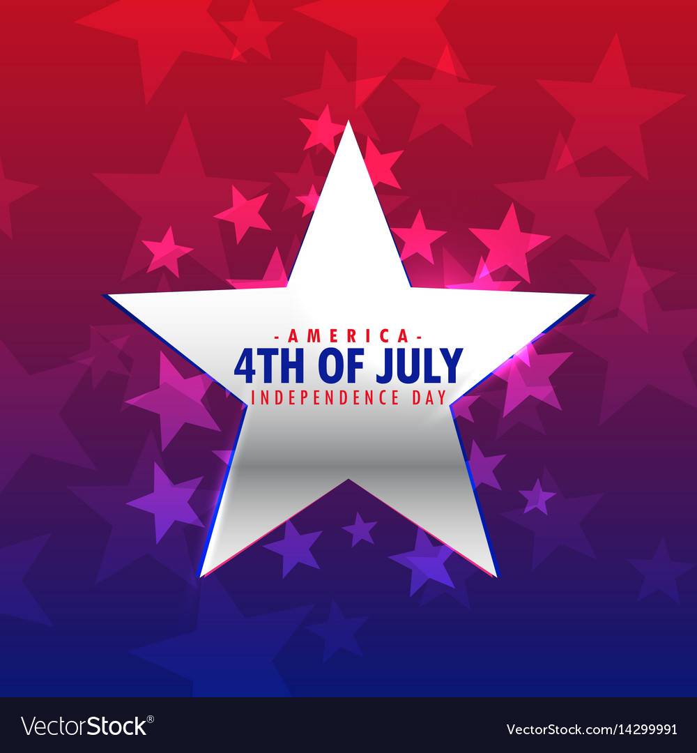Shiny silver star 4th july background