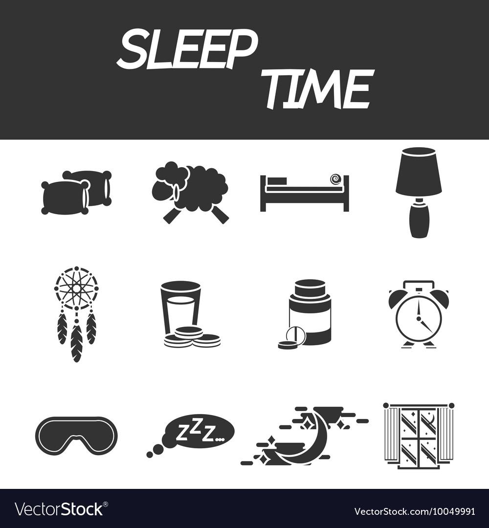Sleep time icon set
