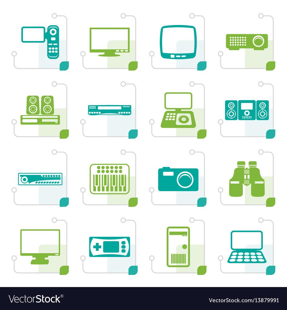 Stylized hi-tech equipment icons