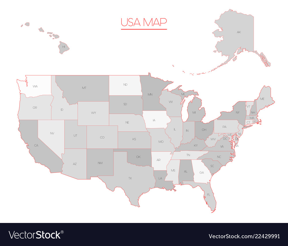 United states of america map in grey