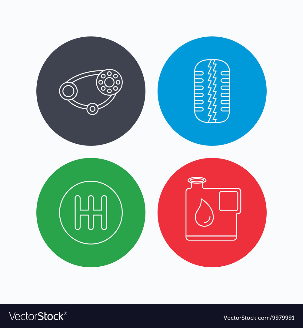 Wheel manual gearbox and timing belt icons vector image on VectorStock