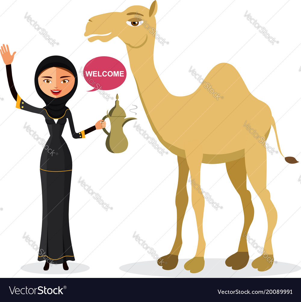 Woman waving her hand with cartoon camel vector image