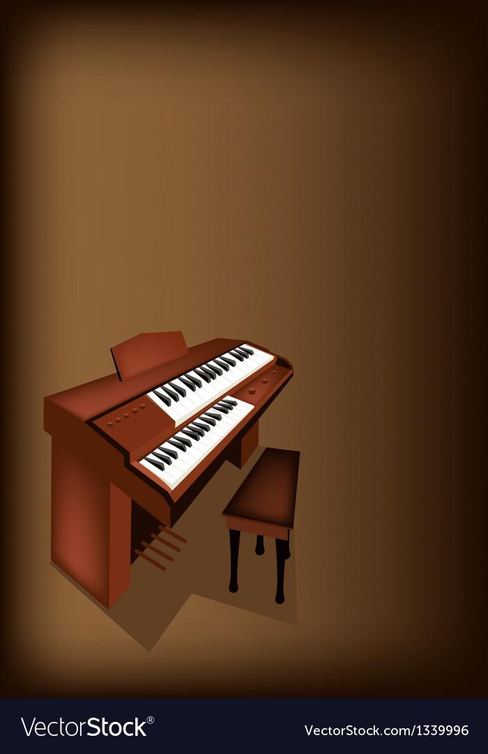 A Retro Pipe Organ on Dark Brown Background