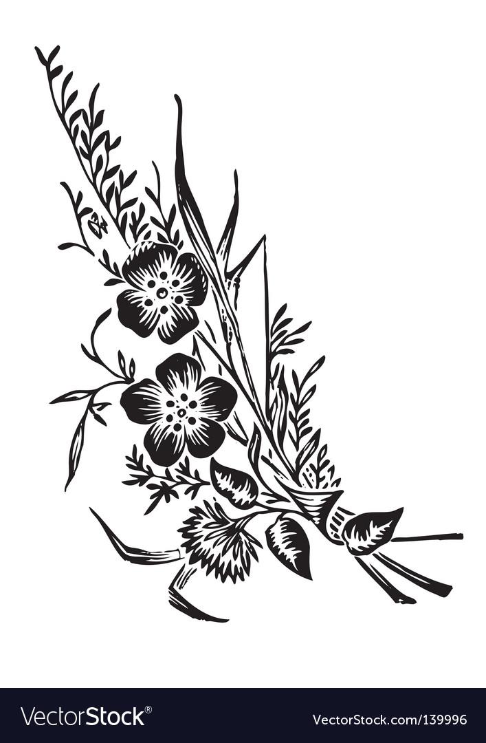 Antique flowers corner engraving