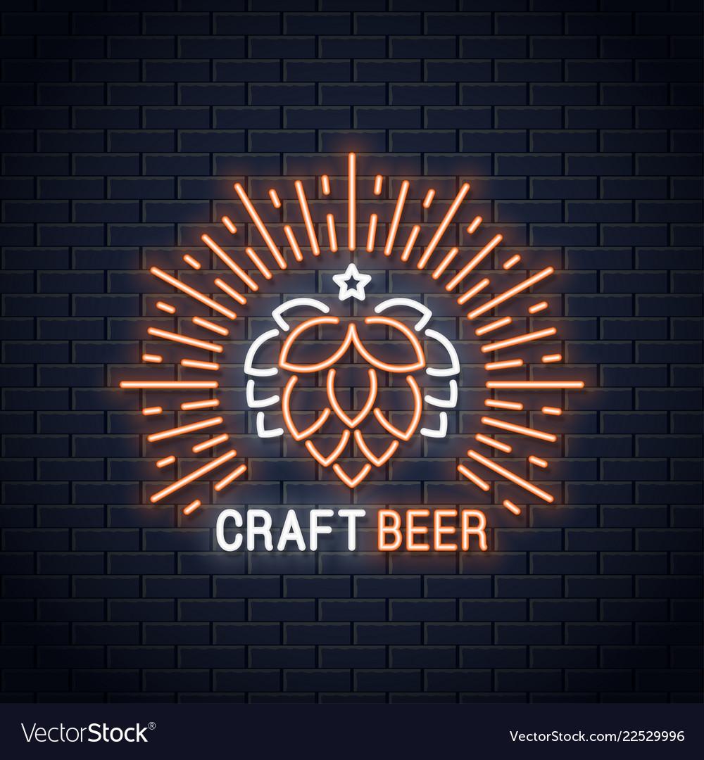Beer neon banner craft beer neon sign on wall