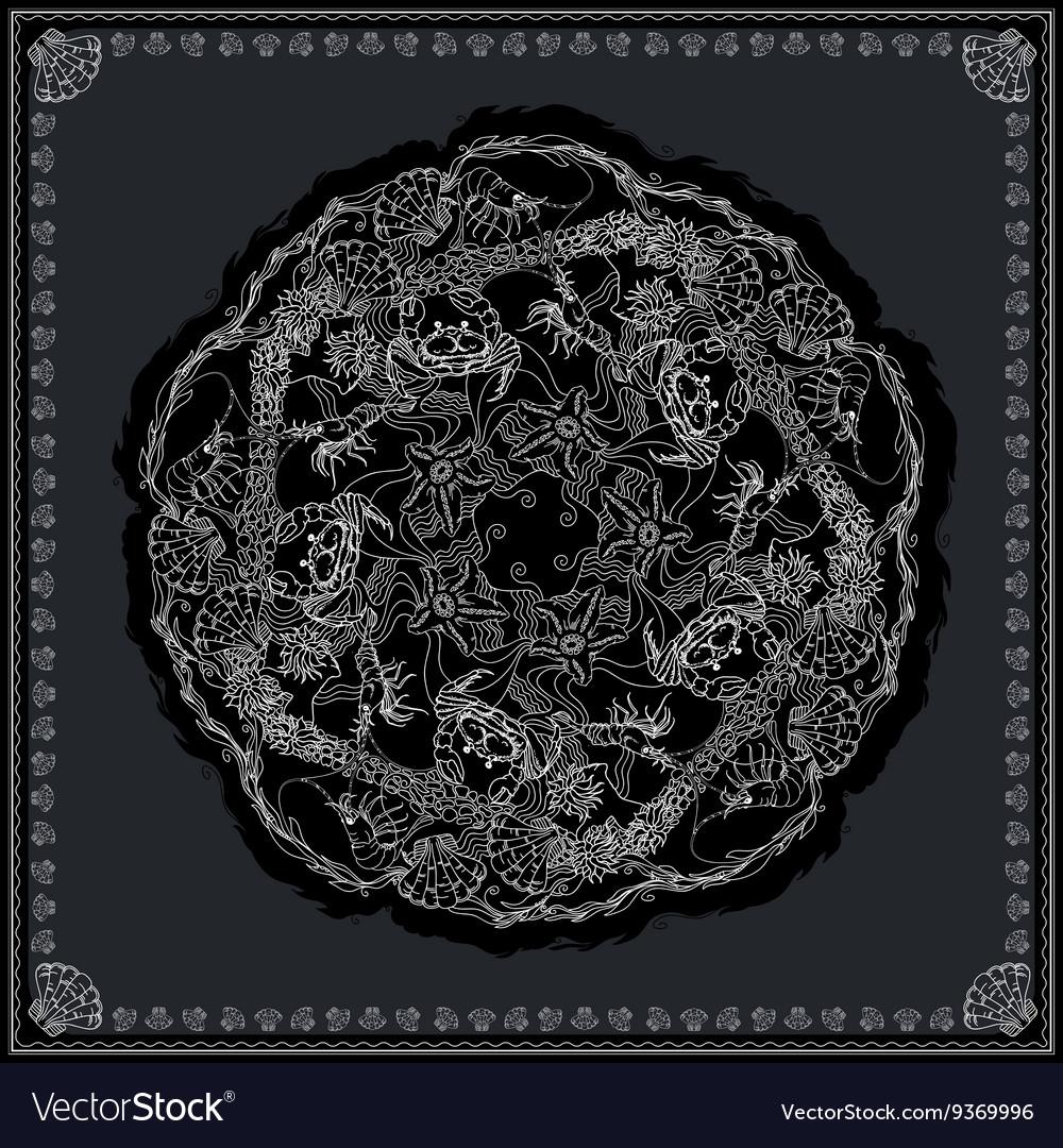 Black and white bandana pattern design for print vector image