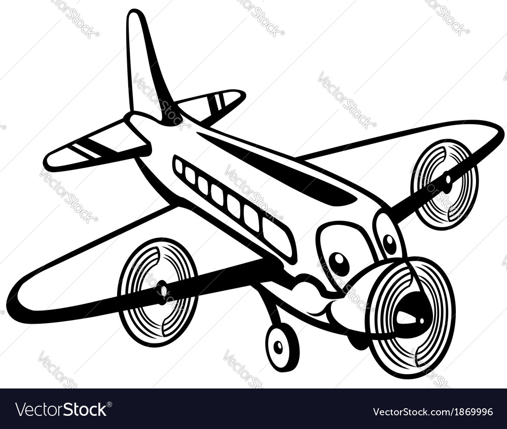 Cartoon airplane black white vector image