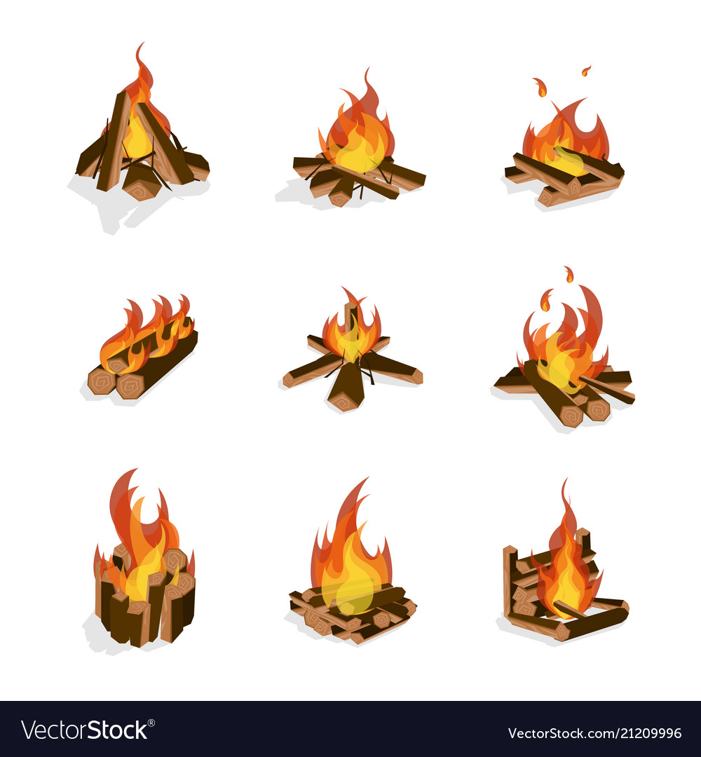Cartoon fire wood and campfire set