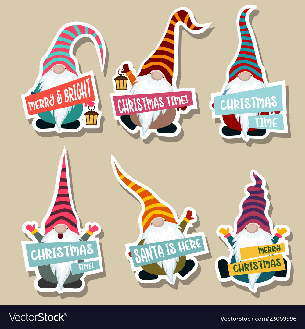 Christmas Stickers.Christmas Stickers Collection With Gnomes
