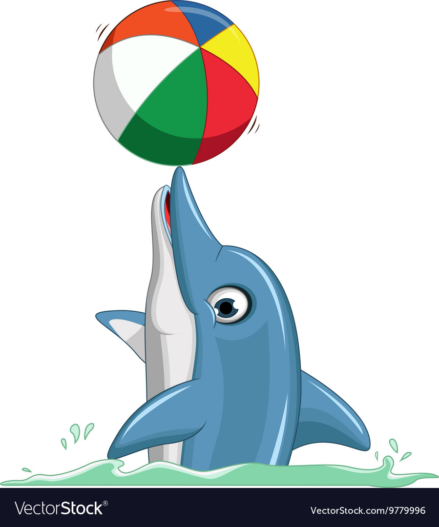 Cute dolphin cartoon playing ball vector image