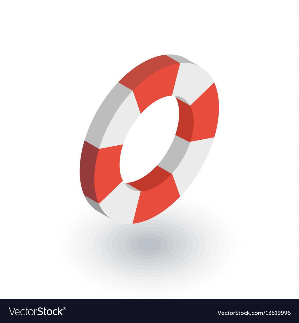 Lifebuoy isometric flat icon 3d vector image