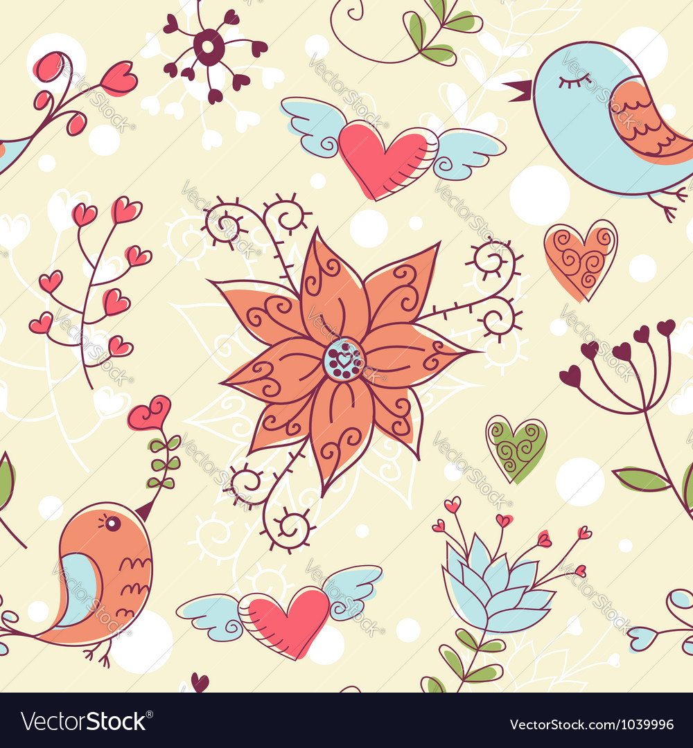 Love seamless texture with flowers and birds