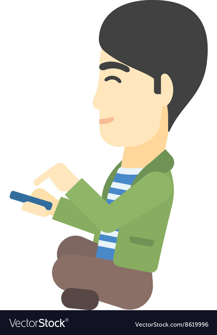 Man using mobile phone vector image