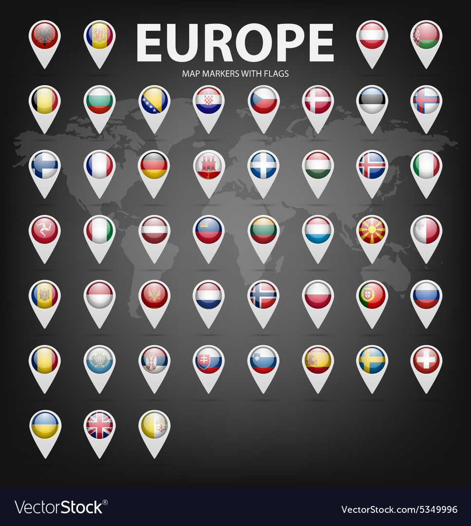 Map markers with flags - Europe Original colors