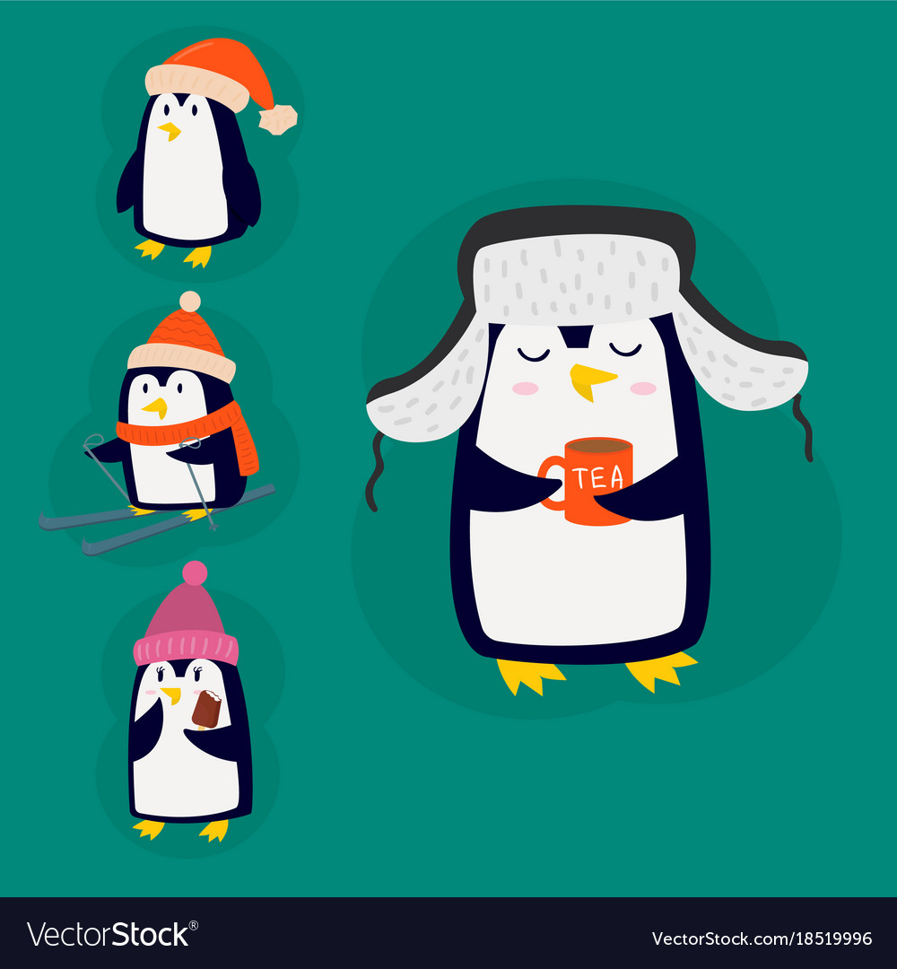 Penguin christmas character