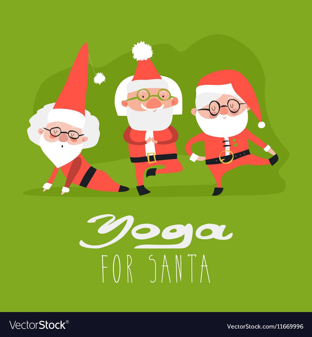 Santa Claus doing yoga vector image