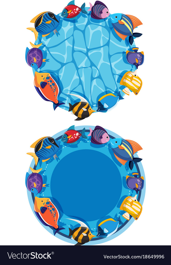 Two round frames with fish in the pond Royalty Free Vector