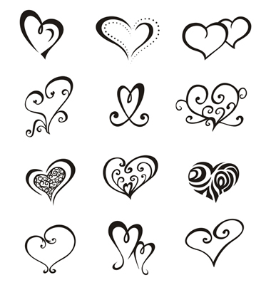 Hearts Tattoo Set Vector. Artist: fulloflove; File type: Vector EPS
