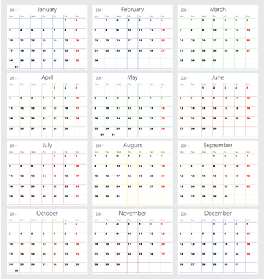 2011 Calendar Vector. Artist: barbulat; File type: Vector EPS