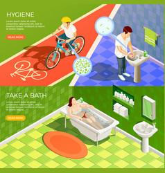 Bathroom horizontal banners set vector