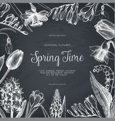 design with hand drawn spring flowers vector image vector image