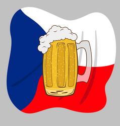glass mug with beer over czech flag vector image vector image