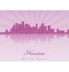 Houston skyline in purple radiant orchid vector image