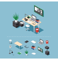 Isometric office desk vector image vector image