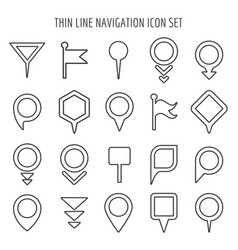 linear map pin mini icons flags and pins signs vector image vector image