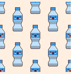 seamless plastic bottles pattern cute kawaii vector image vector image