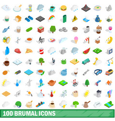 100 brumal icons set isometric 3d style vector