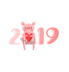 2019 happy new year card design vector