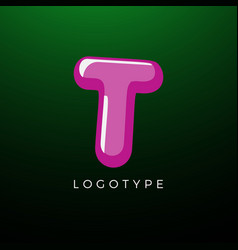 3d playful letter t kids and joy style symbol for vector