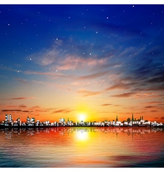 abstract night background with color sunset in vector image