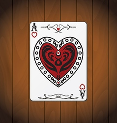 Ace hearts poker card varnished wood background vector