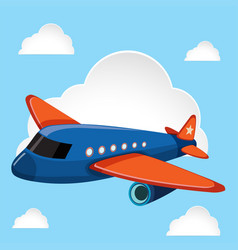 airplane flying in the blue sky vector image