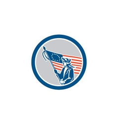 American Patriot Soldier Flag Circle Retro vector image