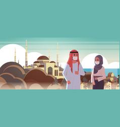 Arab couple wearing face masks environmental vector
