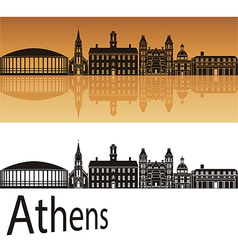 Athens skyline in orange background vector image