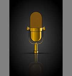 Background with golden microphone vector