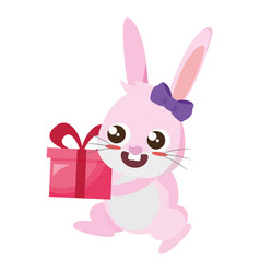 beautiful rabbit with gift easter character vector image