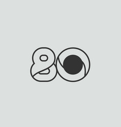 Black and white number 80 logo icon design vector