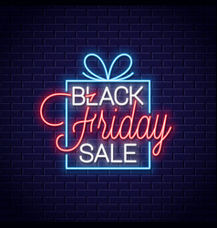 Black friday neon banner gift box sale neon sign vector