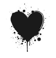 black ink grunge heart vector image