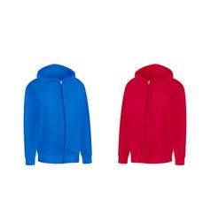 Blank red blue mens hoodie sweatshirt long sleeve vector