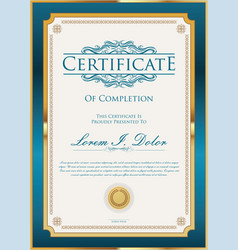 Blue certificate or diploma template vector