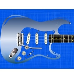 Blue grunge guitar vector