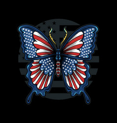 Butterfly in colors flag united vector