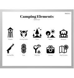 Camping elements solid pack vector