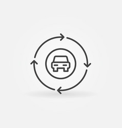 car in circle with arrows outline icon vector image